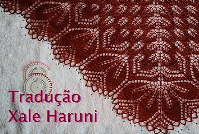 tricô em prosa - Receita traduzida Xale Haruni