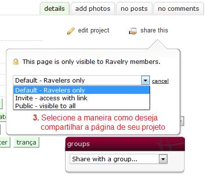 tutorial Ravelry - Compartilhar seu projeto