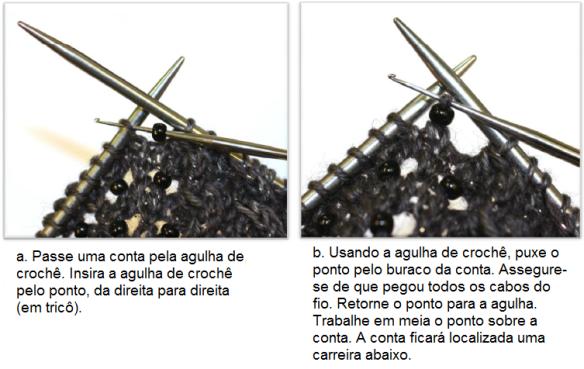 tricô em prosa - como colocar contas com agulha de crochê