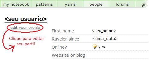 tricoemprosa.com - ravelry - como editar seu perfil