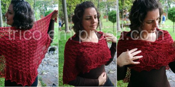 tricô em prosa - um manto de flores: xale Echo Flower tecido em algodão mercerizado