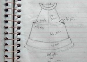 tricô em prosa - croqui da salopete com medidas em carreiras e pontos